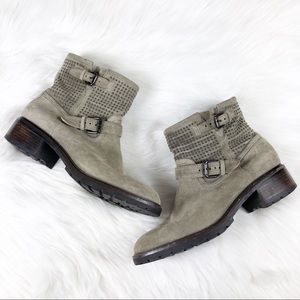 Coach Studded Suede Leather Gates Boot